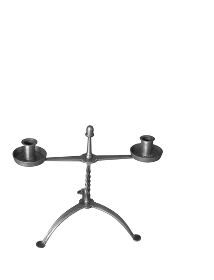 Fixed-arm table candlestand with a twisted stem and an acorn finial incorporates traditional design and construction with contemporary elements.